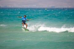 33 Coupe du monde de Fuerteventura 2018 Style libre sans bretelles de GKA Kitesurf 2018 07 21 Playa Sotavento Images libres de droits