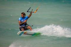33 Coupe du monde de Fuerteventura 2018 Style libre sans bretelles de GKA Kitesurf 2018 07 21 Playa Sotavento Photos libres de droits