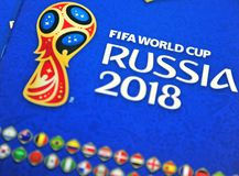 Coupe du monde de Panini la FIFA Russie 2018 albums officiels d'autocollants Photographie stock libre de droits