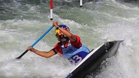 Coupe du monde du slalom ICF de canoë - Viktoria Wolffhardt (Autriche) Image stock