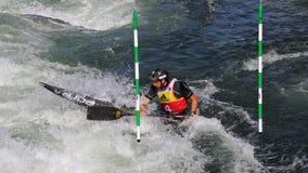 Coupe du monde du slalom ICF de canoë - Alexander Slafkovsky Photographie stock libre de droits