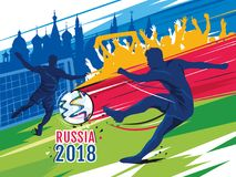 Coupe du monde du football 2018 en Russie Illustration de vecteur de couleur illustration stock