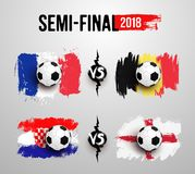 Coupe du monde du football 2018 Semi-final L'ensemble de ballon de football réaliste sur le drapeau des Frances contre la Belgiqu illustration de vecteur