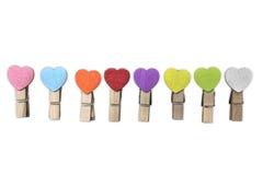Coupe en bois avec coloré des coeurs Photos stock