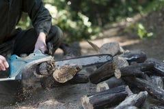 Coupe en bois avec la tronçonneuse Images libres de droits