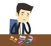 Coupe faillite d'homme d'affaires sa carte de crédit illustration libre de droits