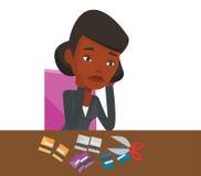 Coupe faillite de femme d'affaires sa carte de crédit illustration de vecteur
