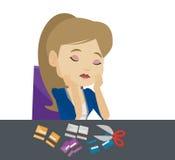 Coupe faillite de femme d'affaires sa carte de crédit illustration stock