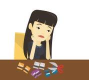 Coupe faillite de femme d'affaires sa carte en plastique illustration de vecteur