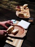Coupe nasale de fromage roumain sur le morceau en bois image stock