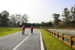 Coupe riding bikes on blacktop in sunny winter afternoon Stock Photography