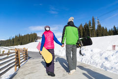 Coupe Ski Snowboard Resort Winter Snow Mountain Man And Woman Holiday Stock Photo
