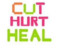 Couper-blesser-guérissez les bandages images stock
