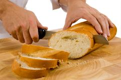 Couper en tranches le pain Photo stock
