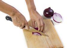 Couper l'oignon rouge Images stock