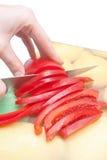 Couper le poivron rouge doux photographie stock