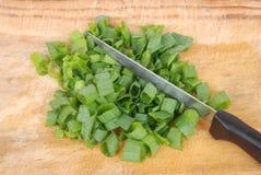 Couper les oignons frais de source Photos stock