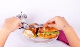Couper un sandwich Photographie stock libre de droits