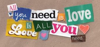 Coupes de citation d'amour Image libre de droits