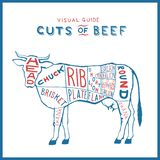 Coupes de vecteur de bleu rouge de logo de vache de boucherie sur le cru blanc de monogramme illustration stock