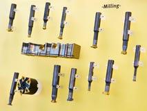 Coupeurs de fraisage pour le métal image libre de droits