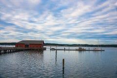 Coupeville海边镇历史的码头Whidbey的我 免版税库存图片