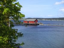Coupeville Old Grain Wharf Red Building Royalty Free Stock Image