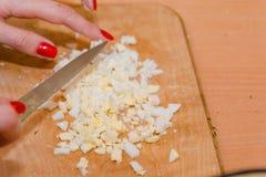 Coupez en tranches l'oeuf à la coque la salade d'oeufs hash image stock