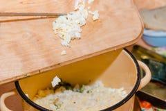 Coupez en tranches l'oeuf à la coque la salade d'oeufs hash image libre de droits