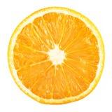 coupez en tranches les agrumes oranges mûrs d'isolement sur le fond blanc Photos libres de droits