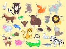Coupez l'affiche exotiques, domestiques et de ferme d'animaux illustration stock