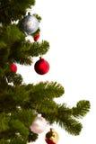 Coupez l'image d'un arbre de Noël sur le blanc Image stock