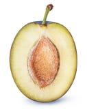Coupez le fruit de prune d'isolement sur le fond blanc Image stock