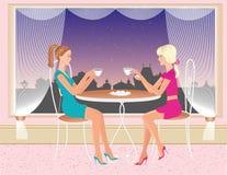 Coupez les filles s'asseyant dans le café de boutique et le thé potable illustration de vecteur