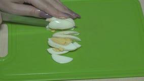 Coupez les oeufs avec un couteau clips vidéos