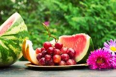 Coupez les tranches de melon jaune mûr, la pastèque, un groupe de raisins et fleurissez des asters sur une table avec le fond ver Photographie stock libre de droits