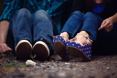 Couple's Shoes. A Couple Showing their Shoes Stock Photography