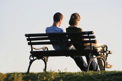Couple 1. COUPLE ON A PARK BENCH stock image