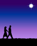 Couple. Illustration of couple in silhouette stock illustration