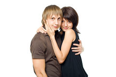 Couple. Young happy couple isolated on white background royalty free stock photos