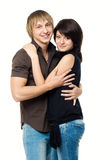 Couple. Young happy couple isolated on white background royalty free stock photo