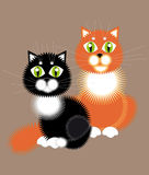 Couple. Illustration. Red-haired cat and black cat. Happy couple Stock Photos