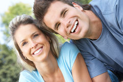 Couple. Happy smiling couple having fun outdoor Stock Image