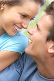 Couple. Happy smiling couple having fun outdoor Royalty Free Stock Photography