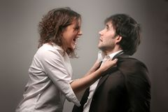 Couple 11. A boy and girl having an angry confrontation Stock Photo