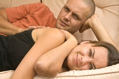 Couple. Happy cute couple having rest Stock Image