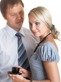 Couple. Businessman and businesswoman drinking coffee at coffee-break Royalty Free Stock Photo