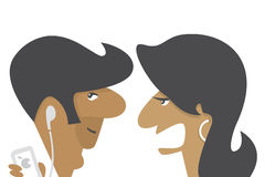 Couple. Arguing, wife nagging and his husband is listening to something Stock Photos