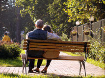 Couple. Elderly couple on the bench Royalty Free Stock Photography