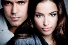 Couple. Beautiful young couple portrait, close up, studio shot Royalty Free Stock Image